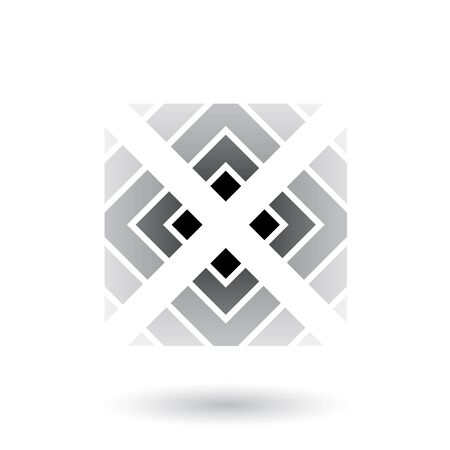 Illustration of Grey Letter X Icon with Square and Triangles isolated on a White Background