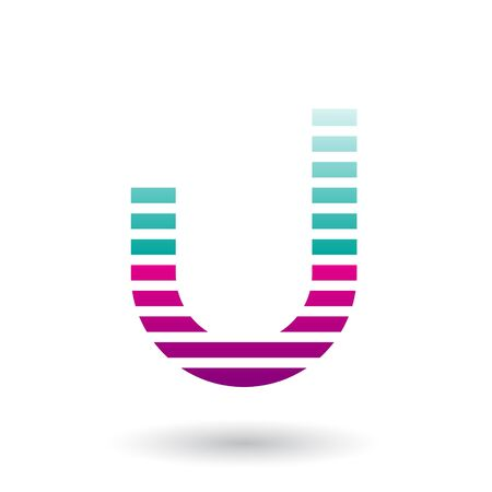 Illustration of Green and Magenta Letter U Icon with Horizontal Thin Stripes isolated on a White Background
