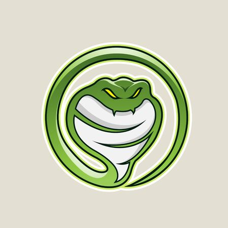 Illustration of Green Cobra Snake Cartoon Icon isolated on a White Background
