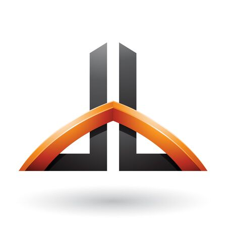 Illustration of Black and Orange Bridged Skyscraper-like Letters of D and B isolated on a White Background