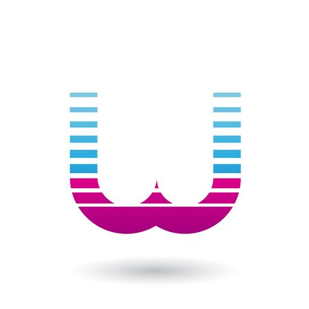 Illustration of Blue and Magenta Letter W Icon with Horizontal Stripes isolated on a White Background Stok Fotoğraf