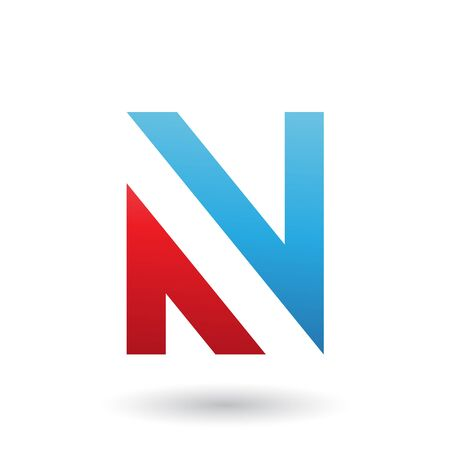 Illustration of Blue and Red V Shaped Icon for Letter N isolated on a White Background Stok Fotoğraf