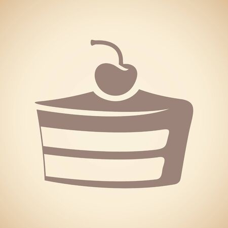 Illustration of Brown Cake Icon isolated on a Beige Background Imagens
