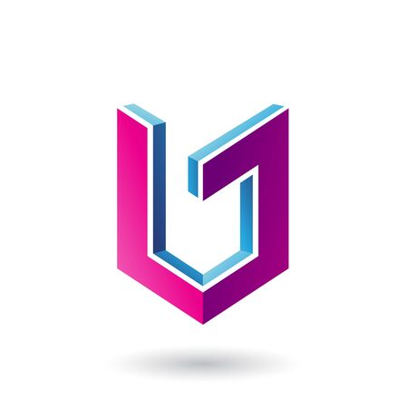 Illustration of Blue and Magenta Shield Like 3d Shape isolated on a White Background