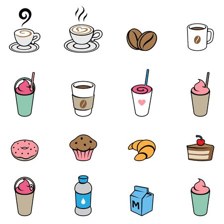 Illustration of Coffee and Breakfast Icons on a White Background