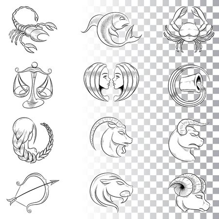 Illustration of Hand Drawn Zodiac Signs Sketches isolated on a White Background