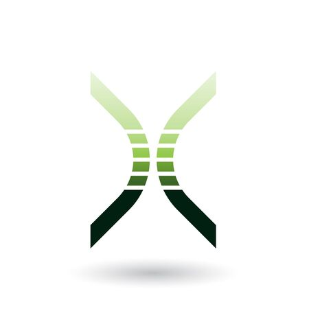 Illustration of a Green Bow Shaped Striped Icon for Letter X isolated on a White Background Stok Fotoğraf