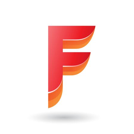 Illustration of a Layered 3d Red Icon for Letter F isolated on a White Background