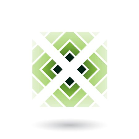 Illustration of Green Letter X Icon with Square and Triangles isolated on a White Background