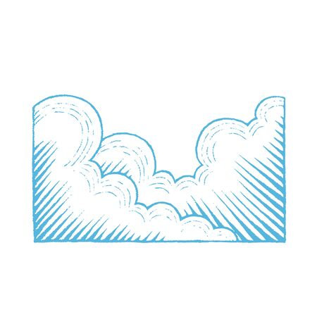 Illustration of Blue Ink Sketch of Clouds isolated on a White Background