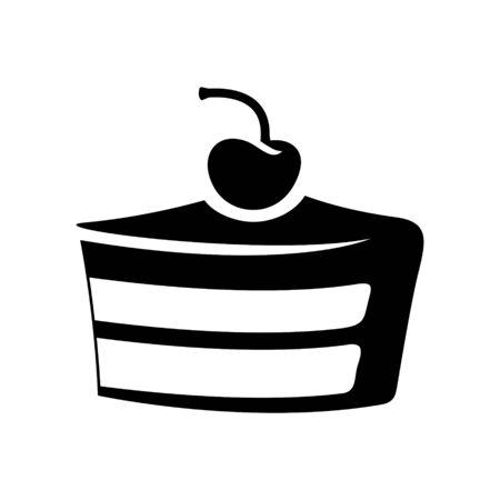 Illustration of Black Cake Icon isolated on a White Background