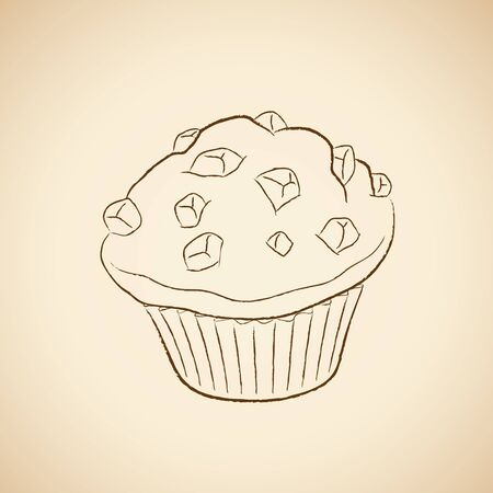 Illustration of Charcoal Drawing of a Muffin Icon on a Beige Background