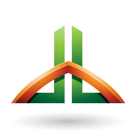 Illustration of Green and Orange Bridged Skyscraper-like Letters of D and B isolated on a White Background