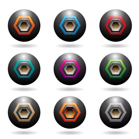 Illustration of Black Embossed Sphere Loudspeaker Icons with Hexagon Shapes isolated on a white background