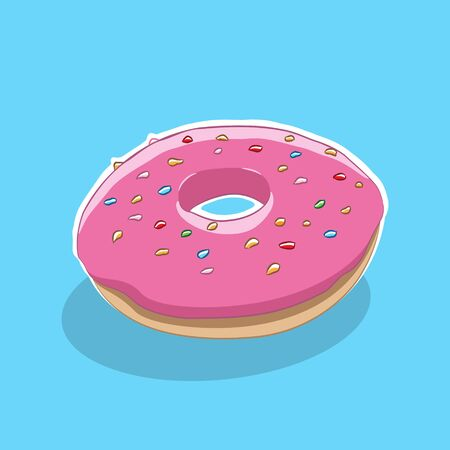 Illustration of Doughnut Icon on a Blue Background