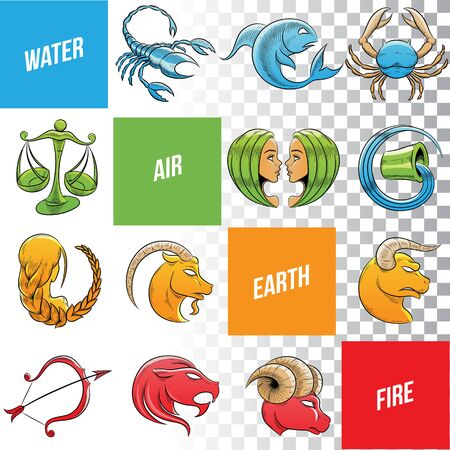 Illustration of Colorful Zodiac Signs Sketches isolated on a White Background Stock Photo
