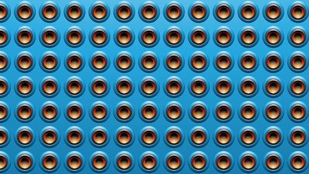 Illustration of Blue Embossed Round Loudspeaker Background Stockfoto - 129961718