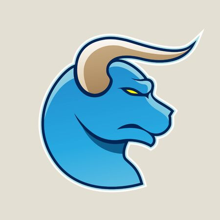 Illustration of Blue Cartoon Bull Icon isolated on a White Background Stok Fotoğraf