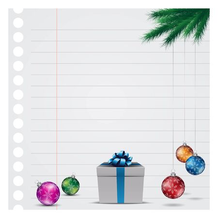 Illustration of Grey Paper Christmas Background with Glossy Colorful Balls