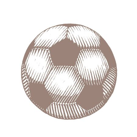 Illustration of Brown Ink Sketch of Soccer Ball isolated on a White Background 版權商用圖片