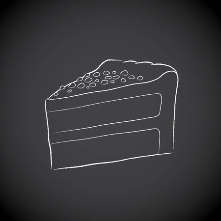 Illustration of Chalkboard Drawing of a Cake Icon on a Blackboard