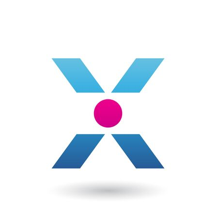 Illustration of a Blue Icon of Letter X with a Circle isolated on a White Background