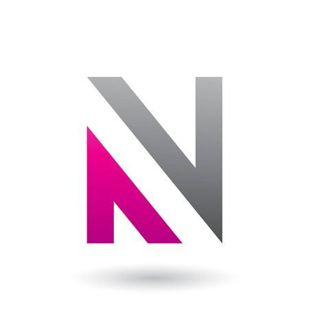 Illustration of Black and Magenta V Shaped Icon for Letter N isolated on a White Background Stok Fotoğraf