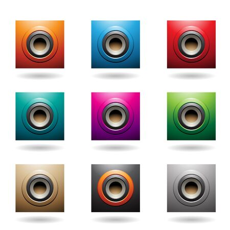 Illustration of Embossed Round and Square Loudspeaker Icons isolated on a white background