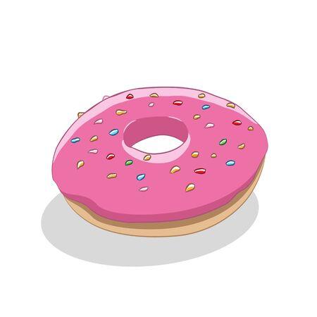 Illustration of Doughnut Icon on a White Background