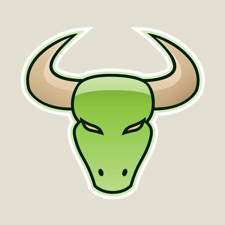 Illustration of Green Strong Bull Icon isolated on a White Background