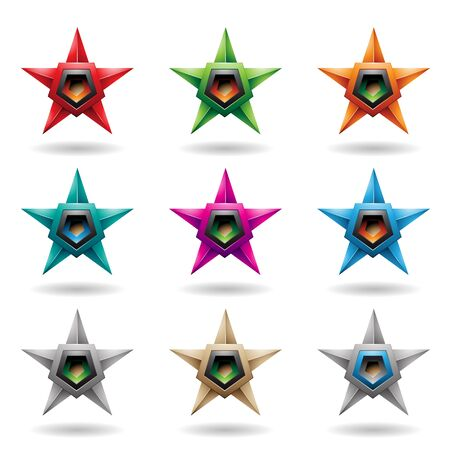 Illustration of Embossed Stars with Colorful Pentagon Loudspeaker Shapes isolated on a White Background