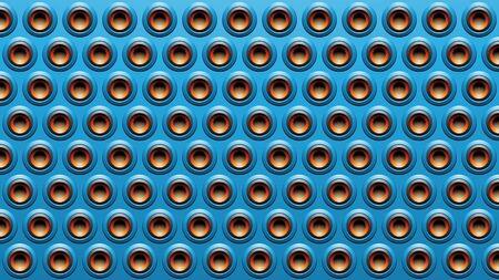 Illustration of Blue Black and Orange Embossed Round Loudspeaker Background