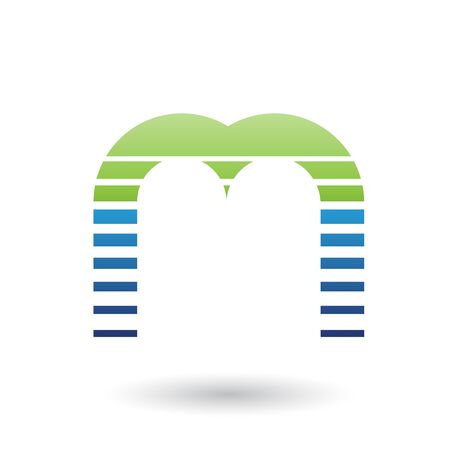 Illustration of a Green and Blue Letter M Icon with Horizontal Stripes isolated on a White Background