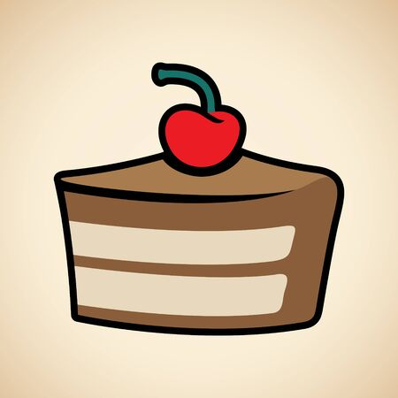 Illustration of Colorful Cake Icon isolated on a Beige Background Imagens
