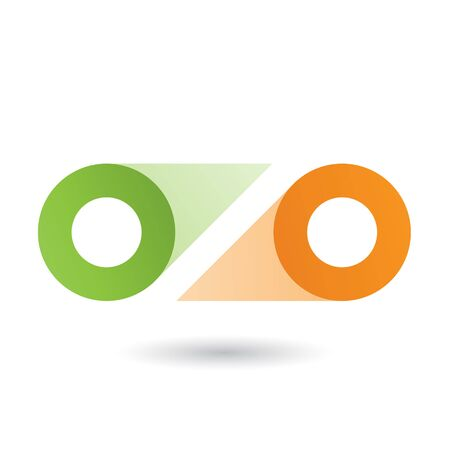 Illustration of Green and Orange Double Letter O isolated on a White Background Stockfoto