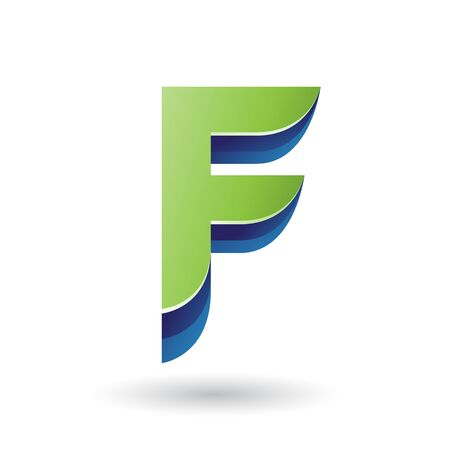 Illustration of a Layered 3d Green Icon for Letter F isolated on a White Background