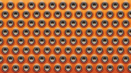 Illustration of Black Grey and Orange Embossed Round Loudspeaker Background Stockfoto - 129963924