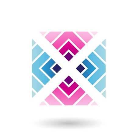 Illustration of Magenta and Blue Letter X Icon with Square and Triangles isolated on a White Background