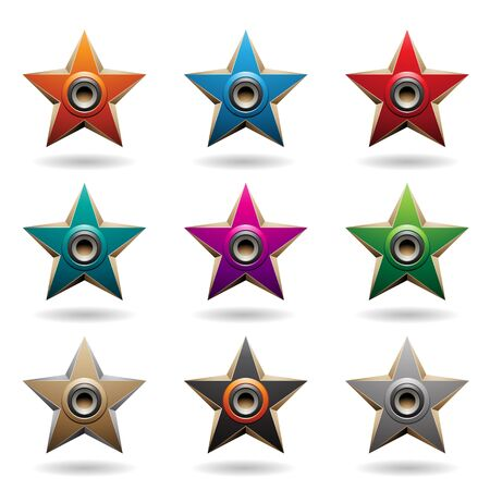 Illustration of Colorful Embossed Stars with Round Loudspeaker Shapes isolated on a White Background Stockfoto - 129964340
