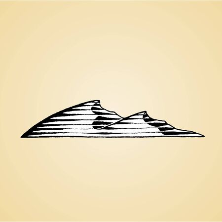 Illustration of a Scratchboard Style Ink Drawing of Sand Dunes with White Fill Banque d'images - 129964346
