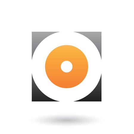 Illustration of Black and Orange Square Icon of a Thick Letter O isolated on a White Background Stok Fotoğraf