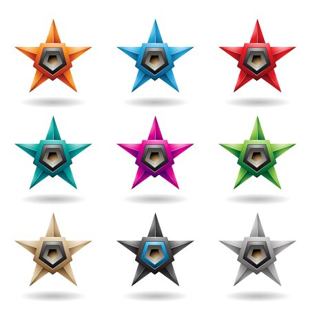 Illustration of Embossed Stars with Grey Pentagon Loudspeaker Shapes isolated on a White Background