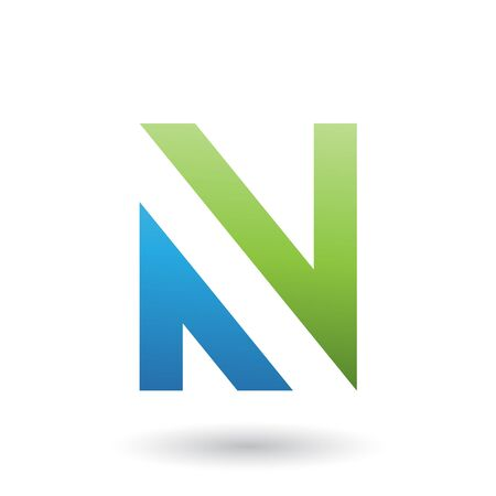 Illustration of Green and Blue V Shaped Icon for Letter N isolated on a White Background Stok Fotoğraf