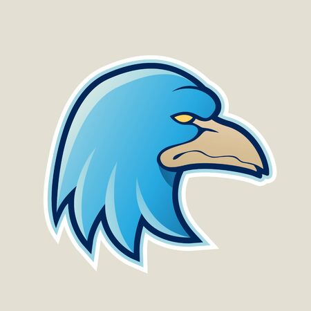 Illustration of Blue Eagle Head Cartoon Icon isolated on a White Background
