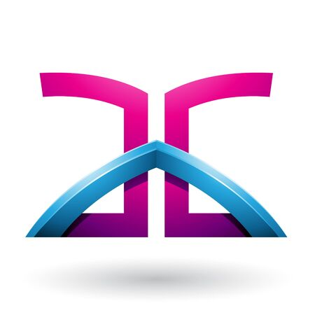Illustration of Blue and Magenta Bridged Letters of A and G isolated on a White Background 스톡 콘텐츠