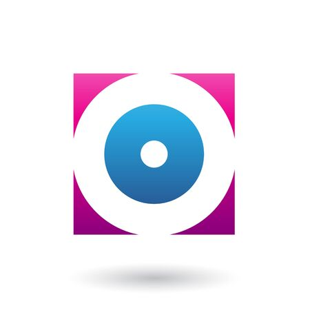 Illustration of Magenta and Blue Square Icon of a Thick Letter O isolated on a White Background