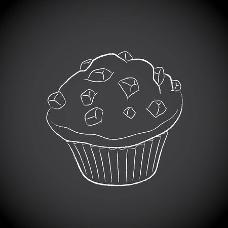 Illustration of Chalkboard Drawing of a Muffin Icon on a Blackboard