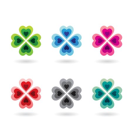 Illustration of Abstract Heart Shaped Four Leaf Clover isolated on a white background