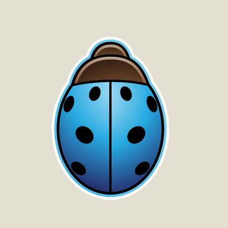 Illustration of Blue Cartoon Ladybug Icon isolated on a White Background