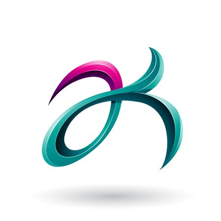 Illustration of Magenta and Green Curly Fish Tail Like Letters A and K isolated on a White Background